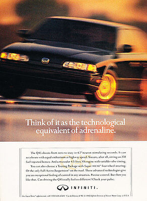 1992 Infiniti Q45 - adrenaline sedan - Classic Vintage Advertisement Ad H09