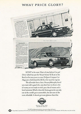 1992 Nissan Sentra SE-R - price glory - Classic Vintage Advertisement Ad H09