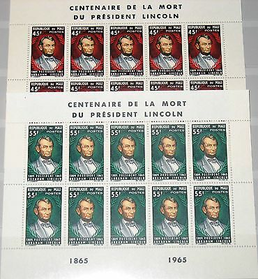 MALI 1965 Klb 103-04 MS 72-73 Cent Death of President Lincoln Famous Persons MNH