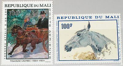 MALI 1967 158-59 C51-52 Gemälde Paintings from Toulouse Lautrec Pferde Horse MNH