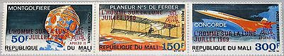 MALI 1969 201-03 C80 1st Landing on Moon ovp on Concorde issue Space Planes MNH