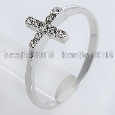 Fashion 18K GP New Arrival 0.1CT Clear Crystal Cross Ring 891581 Free Shipping