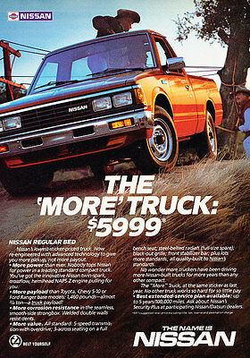 1985 Nissan Truck - Datsun reg bed - Classic Vintage Advertisement Ad H13