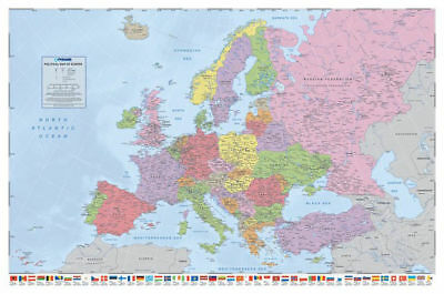 Political Map Of Europe Poster With Flags New Edition