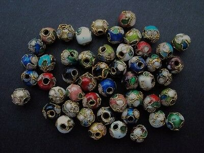 Cloisonne Round Beads 6mm. Mixed Colours. Pack of 50 Beads.