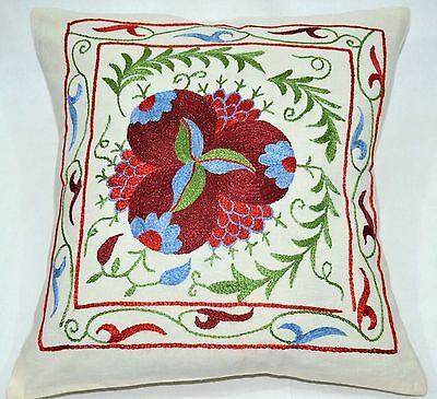 PS8 NEW Pillowcase/Sham Hand Made Silk Embroidered Floral Antique/Vintage Suzani