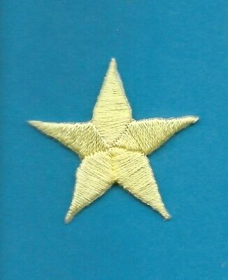 """Ten Iron On Stars 1 9//16/"""" Open White Star Embroidered Patch 150024"""