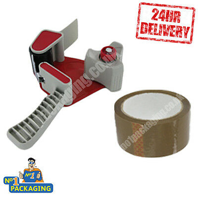 Tape Gun Dispencer + Large Strong Roll Brown Buff Parcel Packing Tape 48Mm X 66M