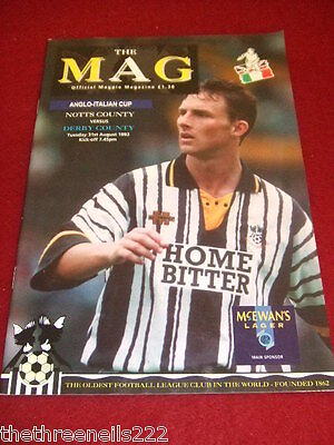 Programme - Anglo-Italian - Notts County V Derby County - Aug 31 1993