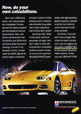 1993 Mitsubishi 3000GT VR-4 - Calculation - Classic Vintage Advertisement Ad D84
