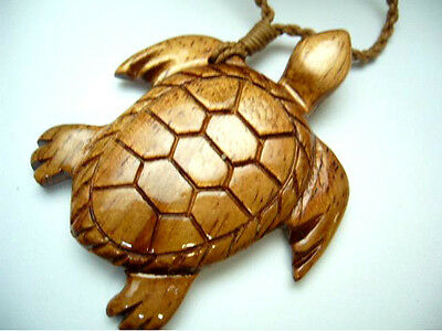 NEW Genuine Koa Wood Hawaiian Jewelry Turtle Pendant Choker/Necklace  # 45047