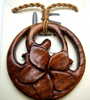 NEW Genuine Koa Wood Hawaiian Jewelry Flower Pendant Choker/Necklace  # 45068