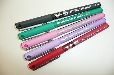 PILOT V5 HI TECPOINT ROLLERBALL PEN 0.5mm LIQUID INK variety of colours