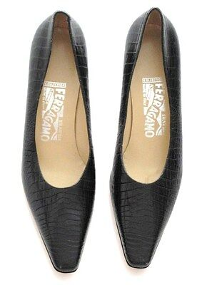SALVATORE FERRAGAMO SHOES COLLECTION SNAKE or CROCODILE  BLACK SIZE 8 2A NOS