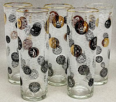 """Lot of 5 MID-CENTURY LIBBEY BLACK/GOLD WORLD COINS 7"""" COOLERS ICE TEA GLASSES"""