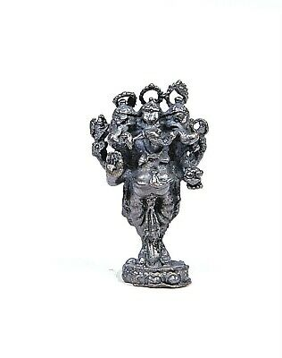 Ganesha Hindu Statue  Standing with 3 Heads in metal tiny 36 x 22 mm