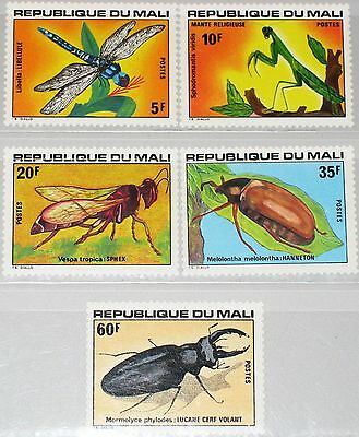 MALI 1977 590-94 280-84 Insects Insekten Dragonfly Wasp Libelle Cockchafer MNH