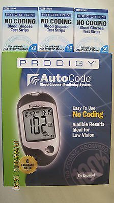 PRODIGY No Coding Blood Glucose 150 Test Strips Free Meter Exp:12/18/2019