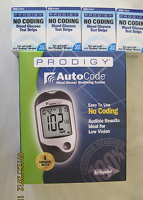 PRODIGY No Coding Blood Glucose 200 Test Strips Free Meter Exp:12/18/2019