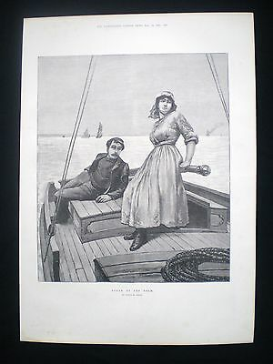 Old Print - Youth At The Helm / Man & Woman On A Sailing Boat Nautical 1892