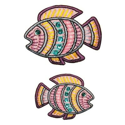 ID 0208AB Set of 2 Tropical Ancient Fish Patch Shiny Sequin Sea Iron On Applique