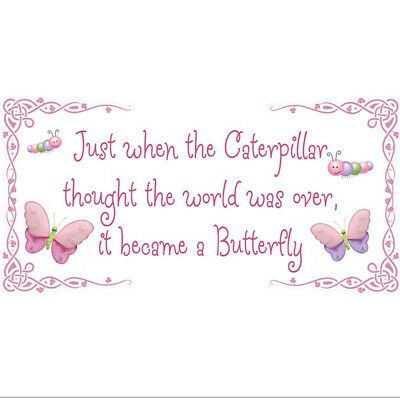 Caterpillar Became A Butterfly Quote Wall Removable Vinyl Stickers Saying Room