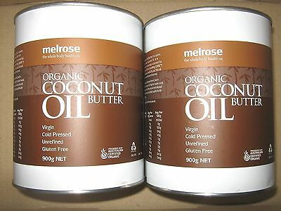 2 x 900g MELROSE Organic Unrefined Cold Pressed COCONUT OIL (Butter)