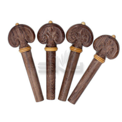 Hand-Carved Dark Rosewood 4/4 Violin Pegs/Yellow Ring/Tip (4 pcs)