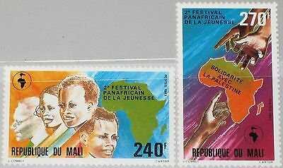 MALI 1983 970-71 480-81 2nd Panafrican Youth Festival Hands Map Karte Köpfe MNH