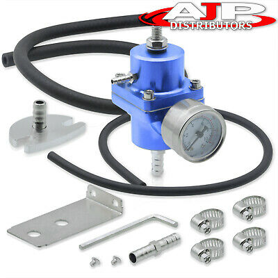 Jdm Blue Fuel Pressure Regulator+Gauge For Honda Civic Integra Del Sol