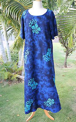 NWT PLUS SIZE Hawaiian Floral Short Sleeve Long Dress ~ BLUE ...