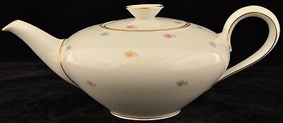 R KPM Krister Teapot Decorated W/ Pastel Leaves and Gold Trim