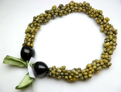 NEW Hawaii Wedding / Graduation Kukui Nut Lei Luau Hula Jewelry Necklace ~ 31047