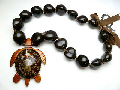 Hawaii Wedding / Graduation Kukui Nut Lei Turtle Jewelry Necklace ~ 31129