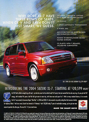 2004 Suzuki XL-7 - Seats - Classic Vintage Advertisement Ad D95
