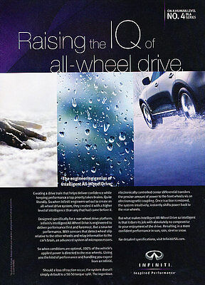 2009 Infiniti All Wheel Drive - IQ - Classic Vintage Advertisement Ad D96