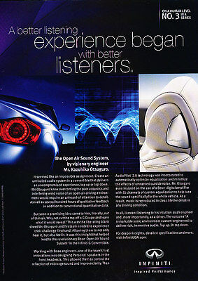 2009 Infiniti Sound System - Listeners - Classic Vintage Advertisement Ad D96