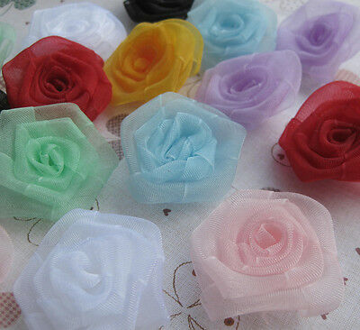 E176 Upick Organza Flowers Rose Appliques Crafts Wedding Sewing Decorations