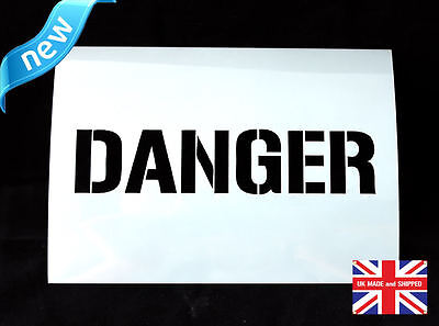 Reusable Danger Airbrush Painting Stencil Sign Wall Door Floor Pavement Crate