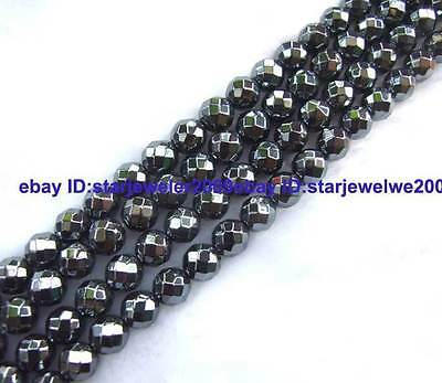 6,8,10mm Haematite Round Faceted Gemstone Beads 15""