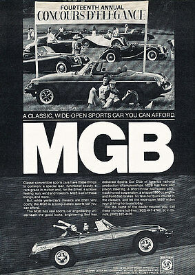 1979 MG MGB - Concours - Classic Vintage Advertisement Ad D100