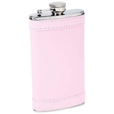 6oz Pink Stainless Steel Hip Whiskey Flask Screw Cap Container Faux Leather Wrap