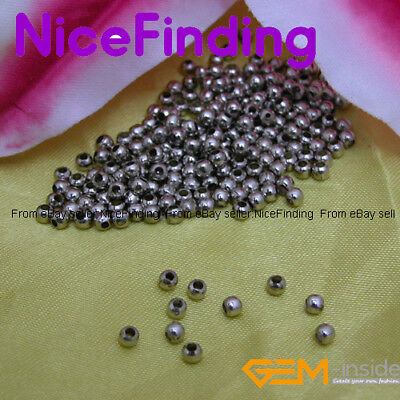 1000 Pcs White gold Plated Jewelry spacers Beads3mm