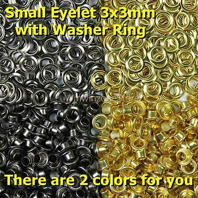 100 Pcs 3x3mm Small Round Eyelet with Washer Ring Antique Nickel and Brass Color