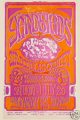 The Yardbirds at  San Ramon Concert Poster Circa 1967