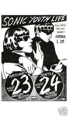 Sonic Youth & Early Nirvana at  Seattle Concert Poster Circa Early 1980s