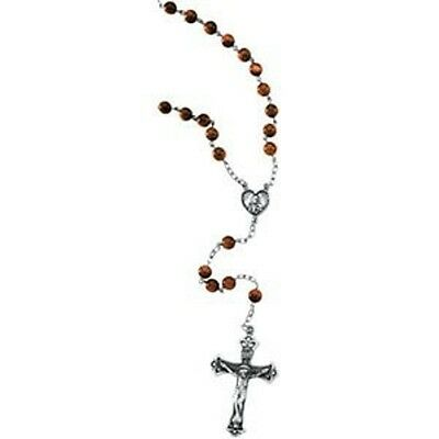 MRT Brown Goldstone Beads & .925 Sterling Silver Rosary Catholic Gift W Pouch