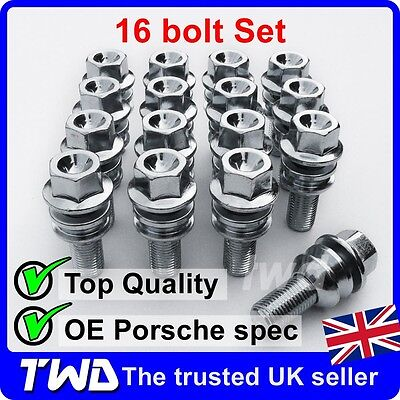 16 x QUALITY WHEEL BOLTS FOR PORSCHE BOXSTER 986 / 987 / 981 ALLOY LUG NUTS [T1]