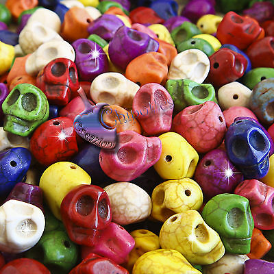 INGROSSO 35 PERLE TESCHIO COLORATE 12x9,5 mm AULITE sintetica mixed skull beads