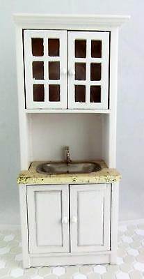 Dolls House Miniature Fitted Kitchen Furniture White Wood Marble Top Sink Unit
